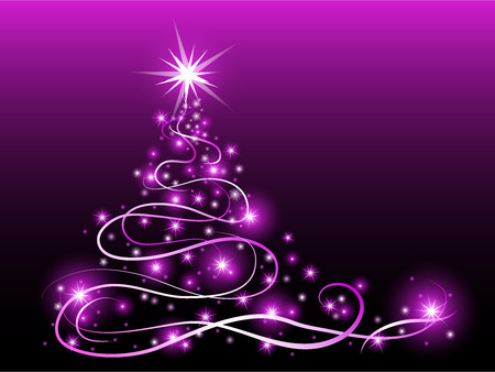 abstract christmas tree with glowing stars and wave lines on violet background, vector illustration