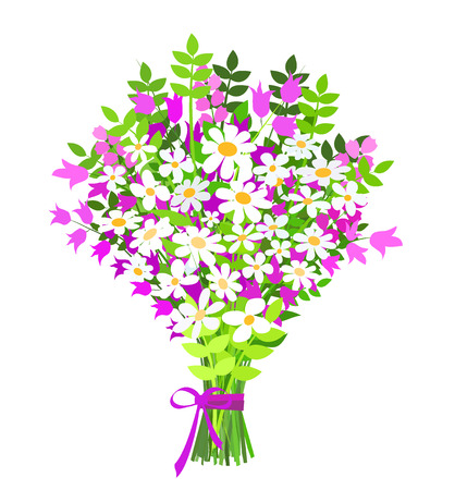 big bouquet of daisy and campanula on white background, vector illustration
