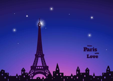 """에펠 탑, 구멍 투성이의 창문 구시 가지, 별, 진한 파란색과 분홍색 하늘 배경, """"사랑 파리에서""""비문 밤, 벡터 일러스트 레이 션의 실루엣"""