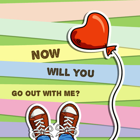 go out: two sneakers, red balloon in heart shape, inscription with invitation for go out, colorful strips background, top view, vector illustration