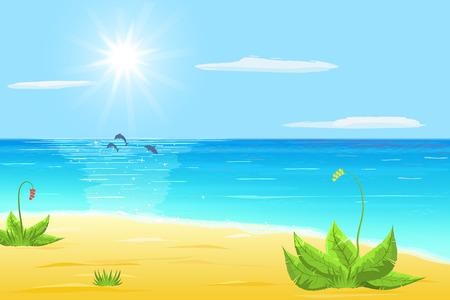 delfin: morze, piasek, egzotyczne rośliny, delfiny drzewa w morze, słońce i chmury na niebieskim niebie Ilustracja
