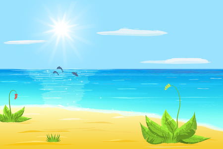 dolphin: sea, sand, exotic plant, tree dolphins in sea, sun and cloud on blue sky
