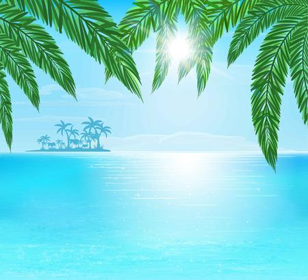 ターコイズと青い海、太陽光線と青い空、ベクトル図の雲  イラスト・ベクター素材