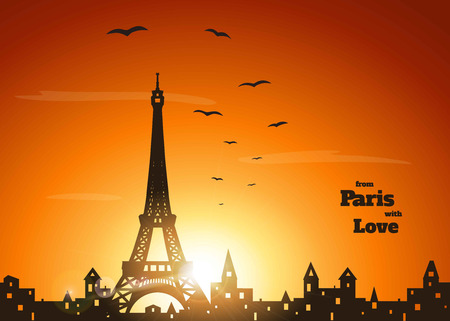 orange sunset: silhouette of Eiffel tower, old town with holey  windows and flock of birds on delicate orange sunset background with inscription from Paris with love ,  vector illustration