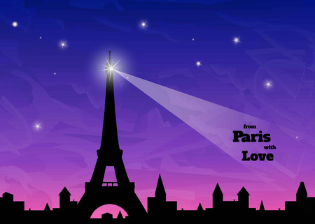 pink sky: night silhouette of Eiffel tower, old town, dark blue and pink sky background, beam to inscription from Paris with love,  vector illustration