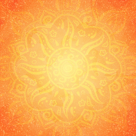 Mandala, tondo giallo ornamento su sfondo arancione, illustrazione vettoriale Archivio Fotografico - 41510949