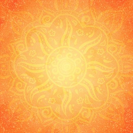 Mandala, yellow round ornament pattern on orange background, vector illustration