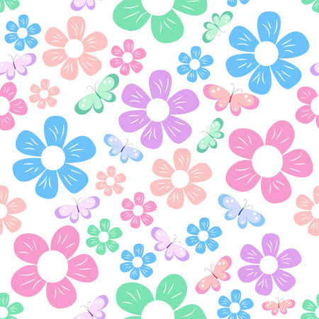 white flowers: seamless with colorful simple different flowers and butterfly on white background, childish pattern, vector illustration