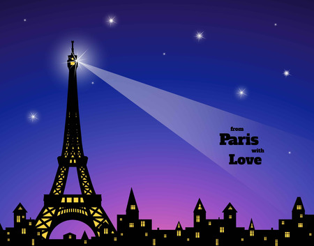 illuminative: silhouette of Eiffel tower, old town with lighting in windows, dark blue and pink sky background, inscription from Paris with love,  vector illustration