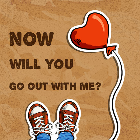 go out: two sneakers, red balloon in heart shape, inscription with invitation for go out, brown cardboard background, top view, vector illustration