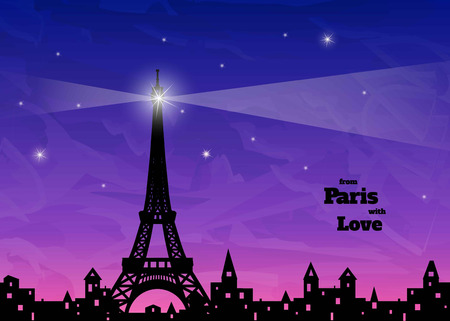 holey: big star with rays on  silhouette of Eiffel tower, old town with holey windows, blue and pink sky background, inscription from Paris with love,  vector illustration