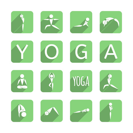 pose: yoga icons set in green squares and text yoga on white background, vector illustration