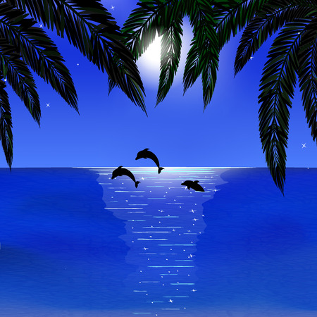 foreground: sea, dolphins, bright moon, palm leaves on foreground, vector illustration