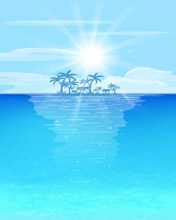 copy spase: turquoise and blue sea, little island with palms on horizon, big cloud and sunbeam, cartoon vector illustration