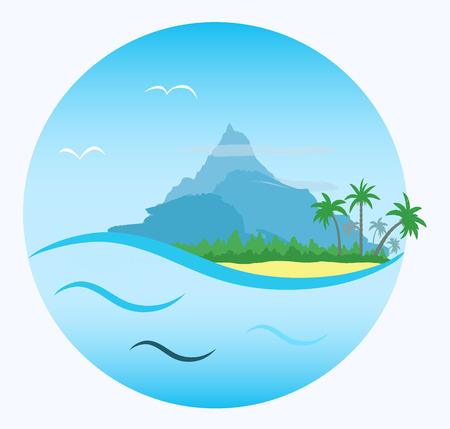 islands: round cartoon label: tropical  beach with palms, forest and mountain on blue sky background