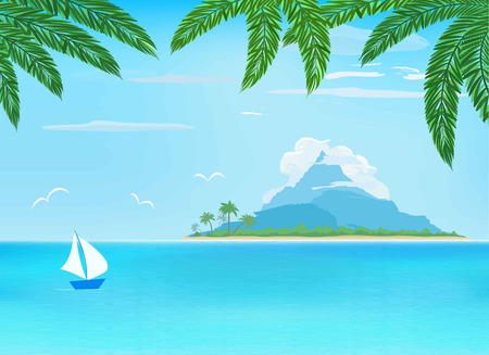 foreground: sea, sailboat, island with mountain on horizon, palm leaves on foreground, vector illustration