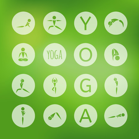 exersice: flat designed round transparent icons for yoga poses on eco green background Illustration