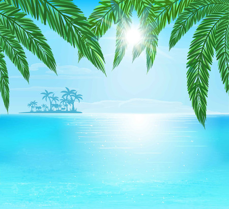 resort: turquoise and blue sea, sun with ray and clouds on blue sky, vector illustration Illustration