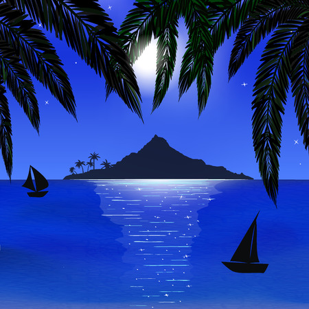 foreground: sea, sland, bright moon, palm leaves on foreground, vector illustration