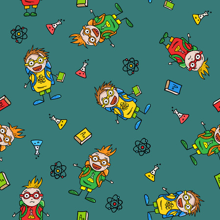 schoolboys: seamless pattern with amusing schoolboys and school accessories on green dark background, vector illustration Illustration
