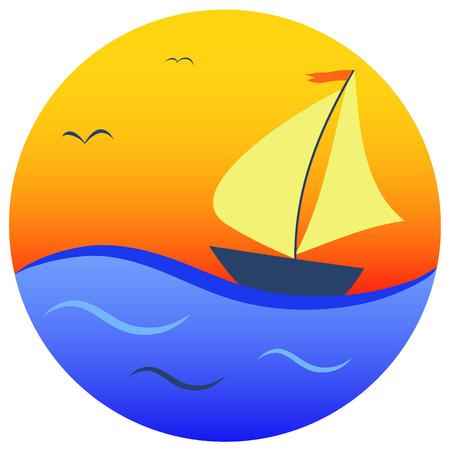 blue sea: sailboat on orange sun and blue sea background, vector illustration