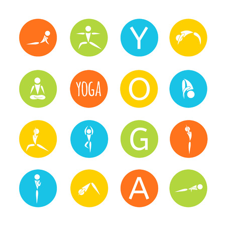 exersice: flat designed bright round icons for yoga poses
