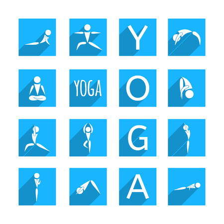 flat designed square icons with shadows for yoga poses on blue background