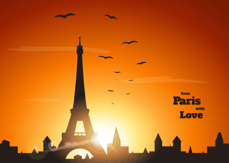orange sunset: silhouette of Eiffel tower, old town and flock of birds on delicate orange sunset background with inscription from Paris with love ,  vector illustration