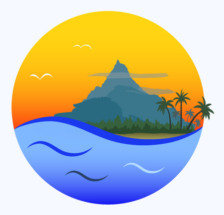 resort: round cartoon card: tropical  beach with palms, forest and mountain on orange sunset and blue sea background, vector illustration