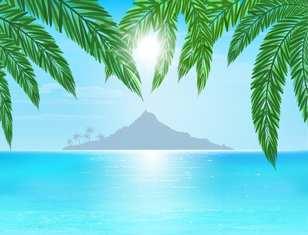 paradise beach: turquoise and blue sea, island on horizon, sun with ray  on blue sky, palm leaves on foreground, vector illustration