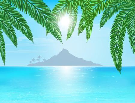 turquoise et bleu de la mer, l'île à l'horizon, le soleil avec le rayon sur le ciel bleu, des feuilles de palmier sur le premier plan, illustration vectorielle