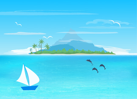 island paradise: sea, sailboard, island with mountain on horizon,   vector illustration