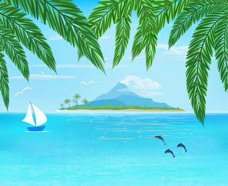 foreground: sea, sailboard, island with mountain on horizon, palm leaves on foreground,  vector illustration