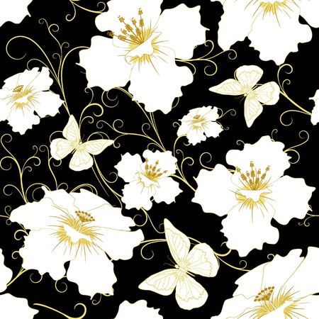 bedclothes: abstract random  floral and butterfly  pattern in vintage style  on black  background, seamless, vector illustration