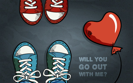 girls feet: two pair of sneakers, red balloon in heart shape, inscription with invitation for go out, black grey textured  background, top view, vector illustration