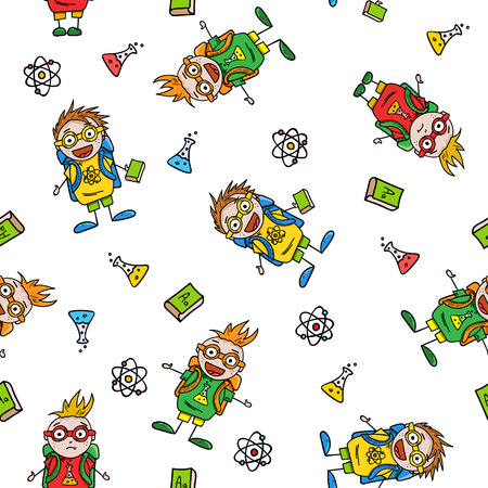 schoolboys: seamless pattern with amusing schoolboys and school accessories on white background, vector illustration