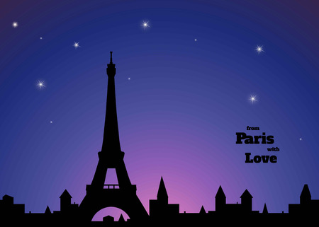 illuminative: silhouette of Eiffel tower, old town, dark blue and pink sky background, inscription from Paris with love,  vector illustration