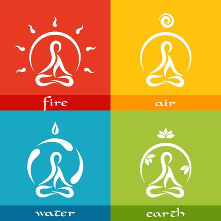 four elements: cuatro elementos de la naturaleza: fuego, aire, agua, tierra - iconos simples planas dise�ado en el estilo de yoga Vectores