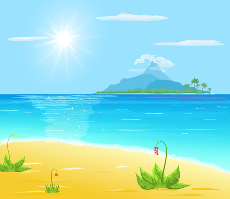 sea plant: sea, sand, exotic plant, island with palm and mountain in sea, sun and cloud on blue sky