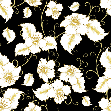 black background abstract: abstract white and gold  floral seamless pattern in vintage style  on black background,  vector illustration