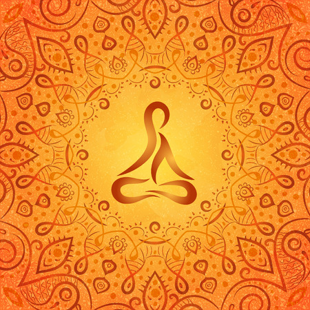 brown background texture: ayurvedic body in frame of indian style on orange background, vector illustration Illustration