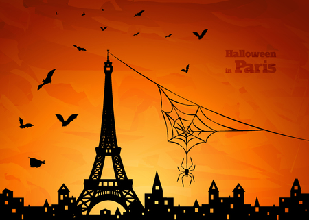 halloween card with silhouette of Paris, spider on spiderweb and  flying  bats on orange sky background, vector illustration