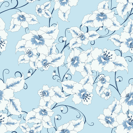 bedclothes: abstract random  floral seamless pattern in vintage style  on light blue background,  vector illustration Illustration