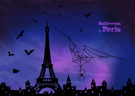 holey: halloween design -  silhouette of Paris with eiffel tower, spider on spiderweb and  flying  bats on blue and violet dark sky background, vector illustration Illustration
