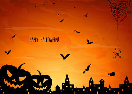 holey: halloween card with silhouette of two pumpkins,  flying  bats, spider on web and old town on orange sky background, vector illustration
