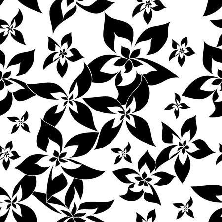 abstract black: seamless pattern with black abstract flowers  on white background, vector illustration