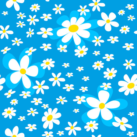 bedclothes: seamless pattern with white daizy on blue background, vector illustration