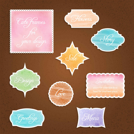 set of  vintage textured colorful frames, vector illustration Illustration