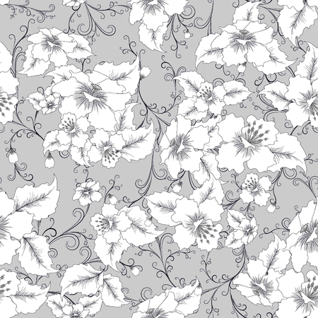 repeat pattern: abstract random  floral seamless pattern in vintage style  on grey background, seamless, vector illustration
