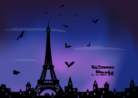holey: halloween card with silhouette of Paris and  flying  bats on blue and violet dark sky background, vector illustration